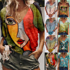 Women V Neck Short Sleeve T Shirt Floral Print Blouse Tee Loose Casual Tunic Top