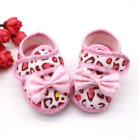 Newborn Baby Girls Leopard Print Bow Prewalker Soft Sole Sandals Single Shoes AU