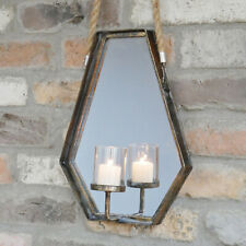 Vintage Rope Hanging Distressed Metal Wall Mirror Sconce Pillar Candle Holder