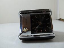 Bulova Vtg Travel Alarm Clock With Light In Leather Case Has Original Manual