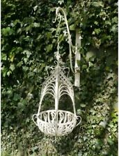 Ornate Cream Hanging Basket Heavy Shabby Chic