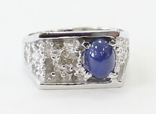 14k White Gold Nugget Style Oval Star Sapphire Mens Ring ~10.4g
