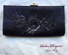 Vintage Couture Salvatore Ferragamo Cocktail Clutch - Black Satin