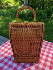 Vintage Wicker and Wood Wine Tote Carrier Purse by Armbee San Francisco