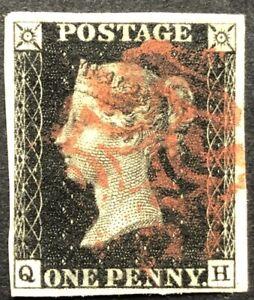 GB QV 1840 PENNY BLACK 'QH' PLATE 7 LARGE FOUR MARGIN RED MALTESE CROSS!