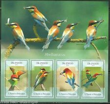 SAO TOME E PRINCIPE 2014 FAUNA BIRDS BEE EATERS SHEET OF FOUR STAMPS
