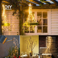 Solar LED Fairy Lights Icicle Light Waterfall String Party Garden Outdoor Lamps