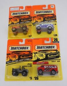 Lot of 4 Matchbox 1/64 Chevy Van #26 Jeep 4x4 #37 Jeep Wrangler #5 Chevy Van #26