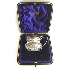 Cased Antique Victorian Solid Silver Mustard Pot George Maudsley Jackson 1895