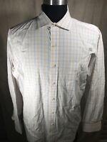 Tommy Hilfiger 17 - 34-35 Dress Shirt White, Orange, Blue Check Long Sleeve Mens