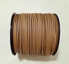 3mm Faux Suede Cord Leather Jewellery Making Beading Flat Thread String Light Coffee 10yd