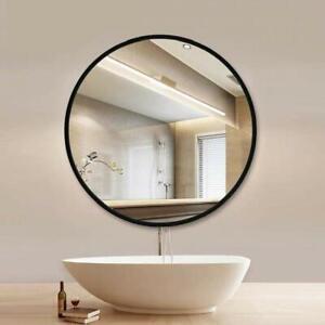 Round black wall mirror metal frame industrial living room bathroom hallway 60cm