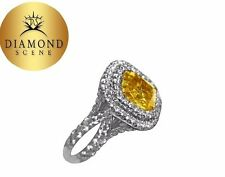 GIA FANCY VIVID YELLOW CUSHION SHAPE DIAMOND SET WHITE ROUND ENGAGEMENT RING