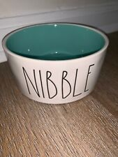 "RAE DUNN Dog Pet 🐶 ""NIBBLE"" Food or Water Bowl Teal Stoneware Brand New"