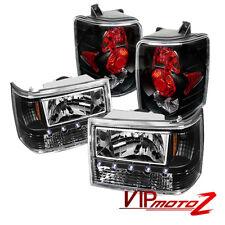 For 93-98 Jeep Grand Cherokee Black LED Headlight+Altezza Tail Lamp Brake Light