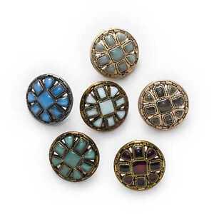 5pcs Retro Enamel Metal buttons Sewing Scrapbook Crafts Handwork Clothing 18mm