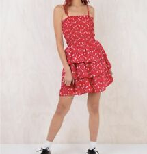 Mink Pink Dally Smocked Ra Ra Dress Red Size M/12