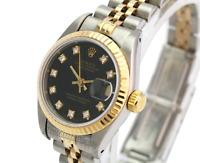 Rolex Womens Datejust Quickset  Black Factory Diamond Dial 18K Gold Fluted