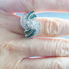 Emerald Art Deco Engagement Ring Gatsby Wedding Platinum 1920s 1930s OEC Color