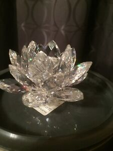 Swarovski 1982 Waterlily Candle Holder Silver Crystal Retired In Mint Condition