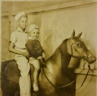 Vintage Old RPPC Photo of Cute Little Blonde Boys Brothers on Fake Horse Prop