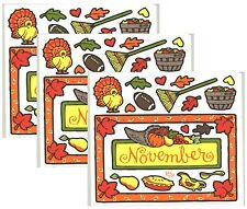 Frances Meyer NOVEMBER Thanksgiving Fall Harvest PIE Scrapbook Stickers 3 Sheets