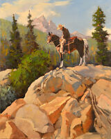 Hd Art Print Cowboy Riding In the Mountains Oil painting Printed on canvas P833