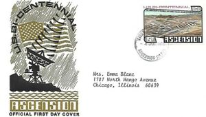 ASCENSION 1976 FIRST DAY COVER U. S. BASE, SPACE RELATED