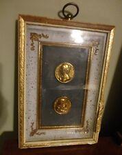 Framed Marie Rabutin De Savigne & Blaise Pascal Philosopher Gold Tone Coins