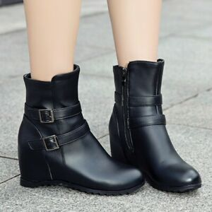 Women's Hidden Wedge Heel Round Toe Buckle Ankle Riding Boots Casual Size 34-43