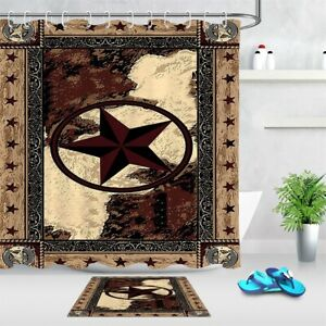 Vintage Texas Star Western Style Shower Curtain & Hooks Bathroom Accessory Sets
