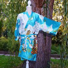 Kimono Pegnoir Japonais Oriental 70% soie 44 46 48 50 Bleu Pékin ZAZA2CATS