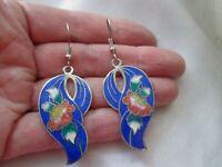 Vintage Cloisonne Enamel Flower Drop Dangle Pierced Earrings Silver Tone Hook