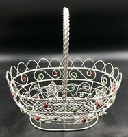 Metal Christmas Basket With Red And Green Beads, Silvertone With Stars