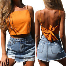 UK Women Casual Solid Tank Tops Vest Blouse Sexy Sleeveless Crop Top Shirt Cami