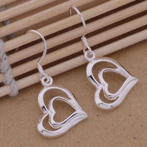 925 Sterling Silver Heart Earrings Drop Dangle Love Romance UK Seller