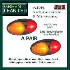 12V 24V LED MARKER SIDE LIGHTS SUBMERSIBLE TRUCK TRAILER AMBER RED INDICATORS