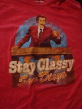 Cool Ron Burgundy Anchorman Stay Classy T-Shirt, Size Large, Nice Shape!