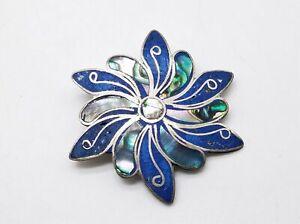 925 Silver Abalone/Blue Stone Floral Brooch 7.25g MRJ997