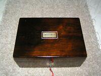 ANTIQUE VICTORIAN ROSEWOOD JEWELLERY/TRINKET BOX, MOP, WORKING LOCK & KEY.