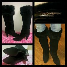 NEW Yves Saint Laurent YSL Black Suede Fox Fur Trim Knee High Boots size 7 RARE!