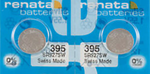 2 x Renata 395 Watch Batteries, 0% MERCURY equivalent SR927SW, Swiss Made