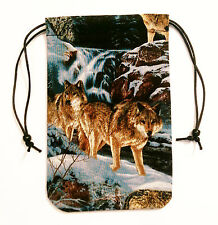 """Brown Wolf Tarot Cards Deck Bag or Pouch 5""""x7"""" Drawstring Pouch Runes Dice"""