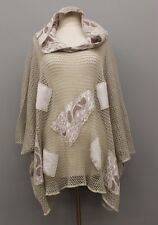 PRISA EURO OVERSIZED LINEN KNIT CROCHET PATCHED HOODED SWEATER NAT OS US 28 $345