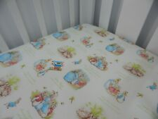 Cot Sheet Fitted Peter Rabbit Pure Cotton Fits to 79 x 130cm mattress