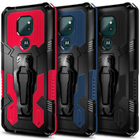 Case For Motorola Moto G9 Play/E7 Plus Belt Clip Stand Cover + Tempered Glass