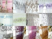 Floral Tulle Voile Door Curtain Net Lace Window Drape Panel Sheer Valances Scarf