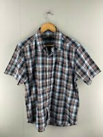 Gallop Mens Blue Red Check Short Sleeve Pockets Button Up Shirt Size Large