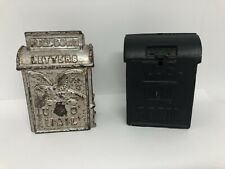 """New ListingKenton Cast Iron Us Mail Coin Bank With Eagle 3 1/2"""" 1930's + Unknown Maker Bank"""