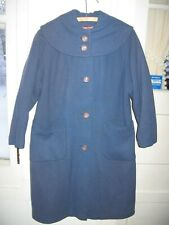 LOVELY VINTAGE 1950-60s  BLUE WOOL COAT